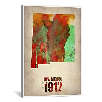 iCanvas New Mexico Watercolor Map by Naxart Graphic Art on Canvas; 40'' H x 26'' W x 0.75'' D