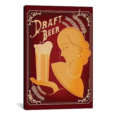 iCanvas American Flat Draft Beer Graphic Art on Wrapped Canvas; 40'' H x 26'' W x 0.75'' D