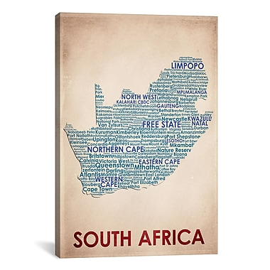 iCanvas American Flat South Africa Graphic Art on Wrapped Canvas; 40'' H x 26'' W x 0.75'' D