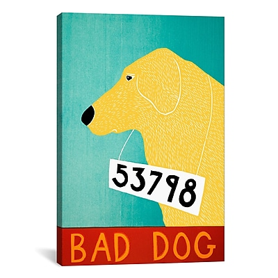 iCanvas Stephen Huneck Bad Dog Yellow Painting Print on Wrapped Canvas; 61'' H x 41'' W x 1.5'' D