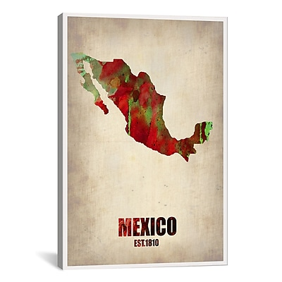iCanvas Naxart Mexico Watercolor Map Graphic Art on Wrapped Canvas; 61'' H x 41'' W x 1.5'' D