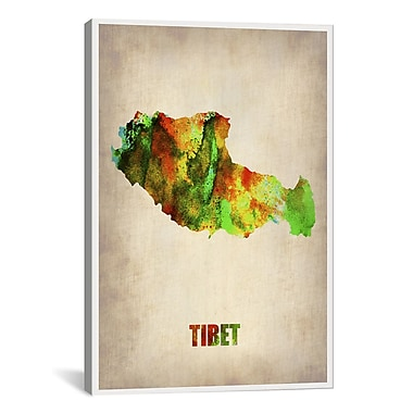 iCanvas Tibet Watercolor Map by Naxart Graphic Art on Wrapped Canvas; 26'' H x 18'' W x 0.75'' D