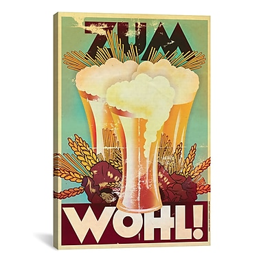 iCanvas American Flat Zum Wohl! Graphic Art on Wrapped Canvas; 40'' H x 26'' W x 0.75'' D