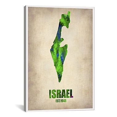iCanvas Israel Watercolor Map Print by Naxart Graphic Art on Canvas; 26'' H x 18'' W x 0.75'' D