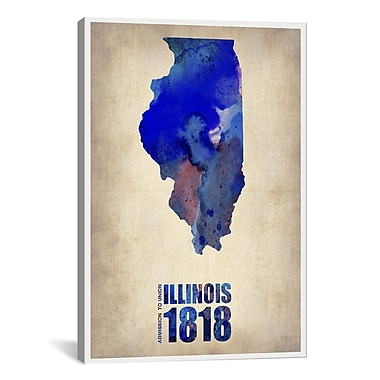 iCanvas Illinois Watercolor Map Print by Naxart Graphic Art on Wrapped Canvas