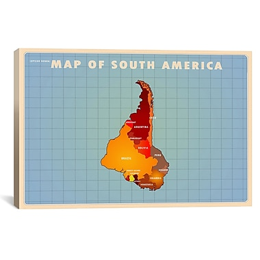 iCanvas Upside Down South America Graphic Art on Wrapped Canvas; 26'' H x 40'' W x 0.75'' D