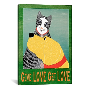 iCanvas Give Love Get Love by Stephen Huneck Painting Print on Wrapped Canvas