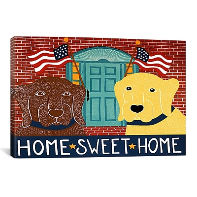iCanvas Home Sweet Home Chocolate/Yellow by Stephen Huneck Painting Print on Wrapped Canvas