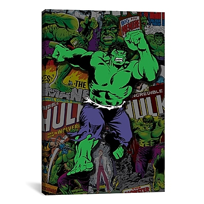 iCanvas Marvel Comics Hulk Cover Collage Graphic Art on Wrapped Canvas; 26'' H x 18'' W x 0.75'' D