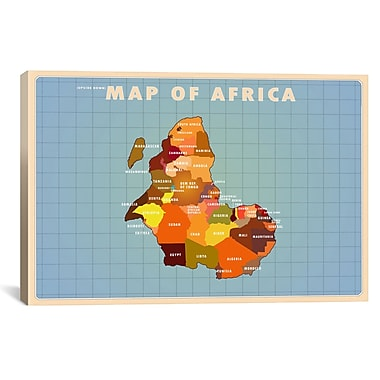 iCanvas Upside Down Africa Graphic Art on Wrapped Canvas; 27'' H x 41'' W x 1.5'' D