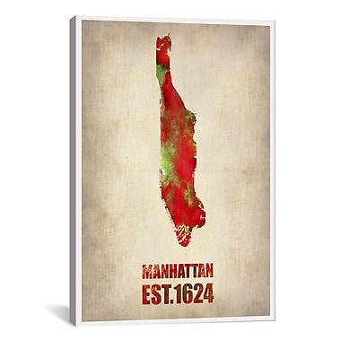 iCanvas Manhattan Watercolor Map by Naxart Graphic Art on Wrapped Canvas; 60'' H x 40'' W x 1.5'' D