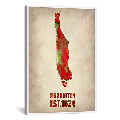 iCanvas Manhattan Watercolor Map by Naxart Graphic Art on Wrapped Canvas; 26'' H x 18'' W x 0.75'' D
