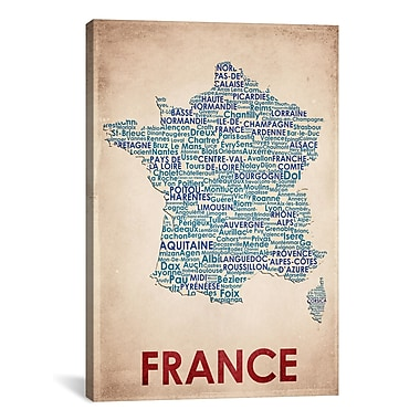 iCanvas American Flat France Graphic Art on Wrapped Canvas; 40'' H x 26'' W x 0.75'' D