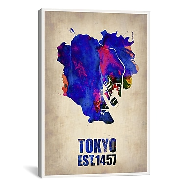iCanvas Tokyo Watercolor Map I by Naxart Graphic Art on Wrapped Canvas; 41'' H x 27'' W x 1.5'' D