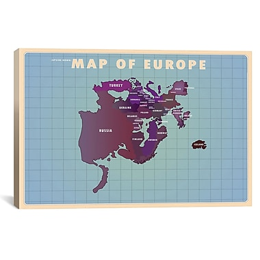 iCanvas Upside Down Europe Graphic Art on Wrapped Canvas; 12'' H x 18'' W x 0.75'' D