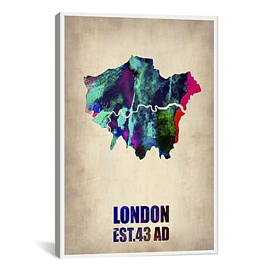iCanvas London Watercolor Map II by Naxart Graphic Art on Wrapped Canvas; 18'' H x 12'' W x 0.75'' D