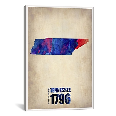iCanvas Tennessee Watercolor Map by Naxart Graphic Art on Wrapped Canvas; 40'' H x 26'' W x 0.75'' D
