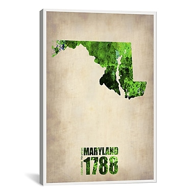 iCanvas Maryland Watercolor Map by Naxart Graphic Art on Wrapped Canvas; 18'' H x 12'' W x 0.75'' D