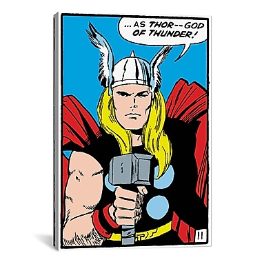 iCanvas Marvel Comics Thor Panel Art B Graphic Art on Wrapped Canvas; 18'' H x 12'' W x 0.75'' D