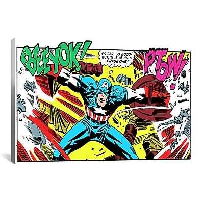 iCanvas Marvel Comics Book Captain America Graphic Art on Wrapped Canvas; 60'' H x 40'' W x 1.5'' D