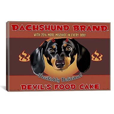 iCanvas Dachshund Devil by Brian Rubenacker Graphic Art on Wrapped Canvas; 27'' H x 41'' W x 1.5'' D