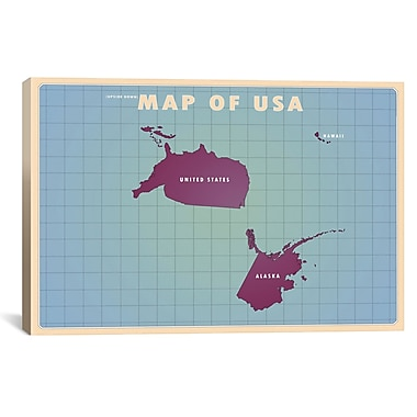 iCanvas Upside Down USA Graphic Art on Wrapped Canvas; 26'' H x 40'' W x 0.75'' D