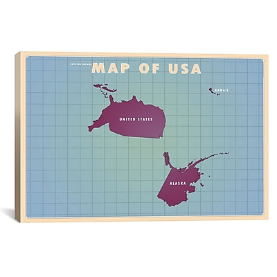 iCanvas Upside Down USA Graphic Art on Wrapped Canvas; 12'' H x 18'' W x 0.75'' D