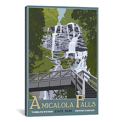 iCanvas Steve Thomas Amicaola Falls Graphic Art on Wrapped Canvas; 26'' H x 18'' W x 0.75'' D