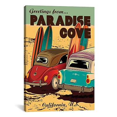 iCanvas American FlaT Paradise Cove Graphic Art on Wrapped Canvas; 26'' H x 18'' W x 0.75'' D