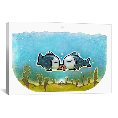 iCanvas 'Kissy Fish' by Daniel Peacock Graphic Art on Wrapped Canvas; 18'' H x 26'' W x 0.75'' D
