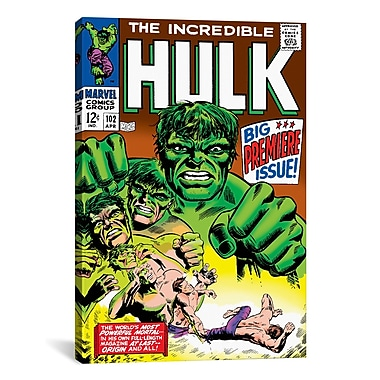 iCanvas Marvel Comics Hulk Issue Cover Graphic Art on Wrapped Canvas; 26'' H x 18'' W x 0.75'' D