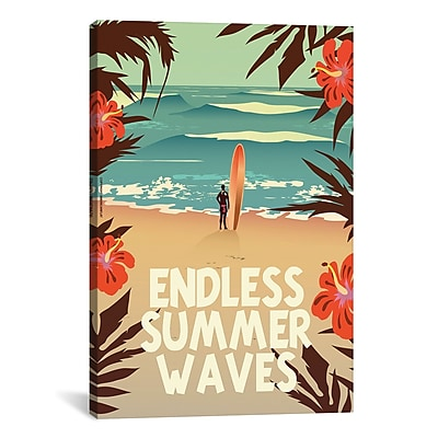 iCanvas American Flat Endless Summer Waves Graphic Art on Wrapped Canvas; 18'' H x 12'' W x 0.75'' D