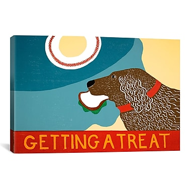 iCanvas Getting a Treat Sand/Chocolate Dog by Rock Demarco Painting Print on Wrapped Canvas