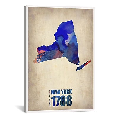 iCanvas New York Watercolor Map by Naxart Graphic Art on Wrapped Canvas; 40'' H x 26'' W x 0.75'' D