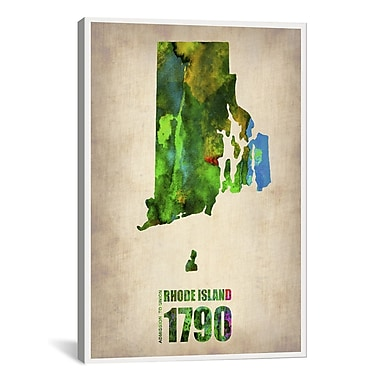iCanvas Rhode Island Watercolor Map by Naxart Graphic Art on Canvas; 18'' H x 12'' W x 0.75'' D