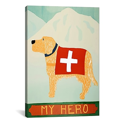 iCanvas My Hero Golden by Stephen Huneck Graphic Art on Wrapped Canvas; 41'' H x 27'' W x 1.5'' D