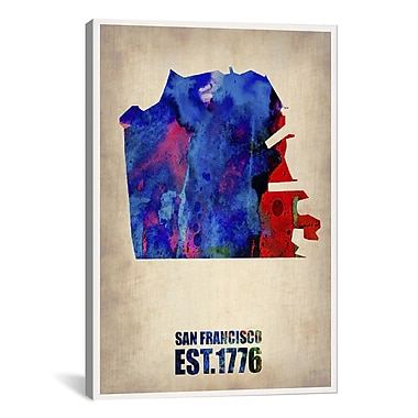 iCanvas San Francisco Watercolor Map by Naxart Graphic Art on Canvas; 41'' H x 27'' W x 1.5'' D