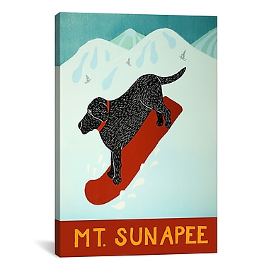 iCanvas Mt. Sunapee Snowboard Black by Stephen Huneck Graphic Art on Wrapped Canvas