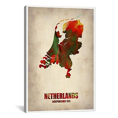 iCanvas Naxart Netherlands Watercolor Map Graphic Art on Wrapped Canvas; 40'' H x 26'' W x 0.75'' D