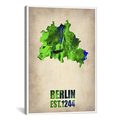 iCanvas Naxart Berlin Watercolor Map by Naxart Graphic Art on Wrapped Canvas