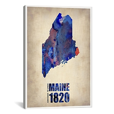 iCanvas Maine Watercolor Map by Naxart Graphic Art on Wrapped Canvas; 26'' H x 18'' W x 0.75'' D