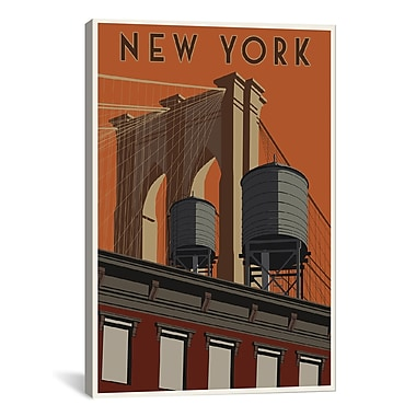 iCanvas New York Travel Poster by Steve Thomas Painting Print on Wrapped Canvas