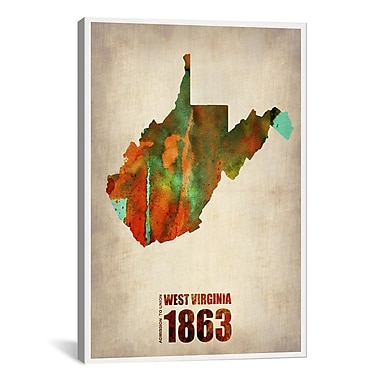 iCanvas West Virginia Watercolor Map by Naxart Graphic Art on Wrapped Canvas