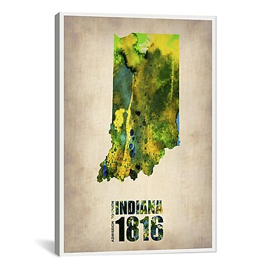 iCanvas Indiana Watercolor Map by Naxart Graphic Art on Wrapped Canvas; 41'' H x 27'' W x 1.5'' D