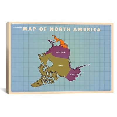 iCanvas Upside Down North America Graphic Art on Wrapped Canvas; 27'' H x 41'' W x 1.5'' D