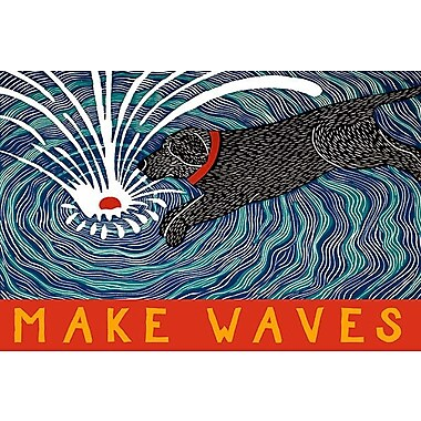 iCanvas Make Waves w/ Banner by Stephen Huneck Painting Print on Wrapped Canvas