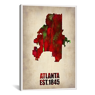 iCanvas Naxart Atlanta Watercolor Map by Naxart Graphic Art on Wrapped Canvas