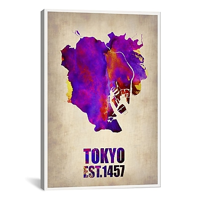 iCanvas Tokyo Watercolor Map II by Naxart Graphic Art on Wrapped Canvas; 40'' H x 26'' W x 0.75'' D