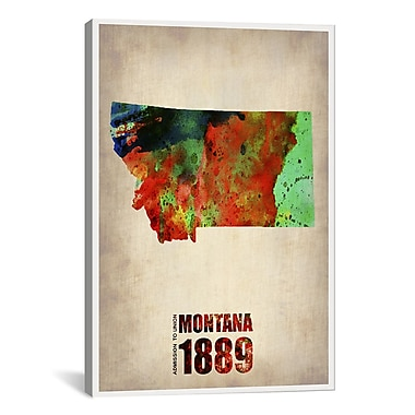 iCanvas Montana Watercolor Map Graphic Art on Wrapped Canvas; 40'' H x 26'' W x 0.75'' D