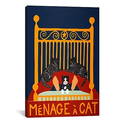 iCanvas Menage A Cat by Stephen Huneck Painting Print on Wrapped Canvas; 41'' H x 27'' W x 1.5'' D